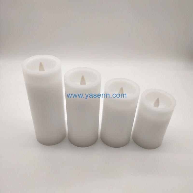 Flameless Candles H20/17.5/15CM Set , 3Pcs of Real Wax Candle Lights With Flat Swing LED Flames