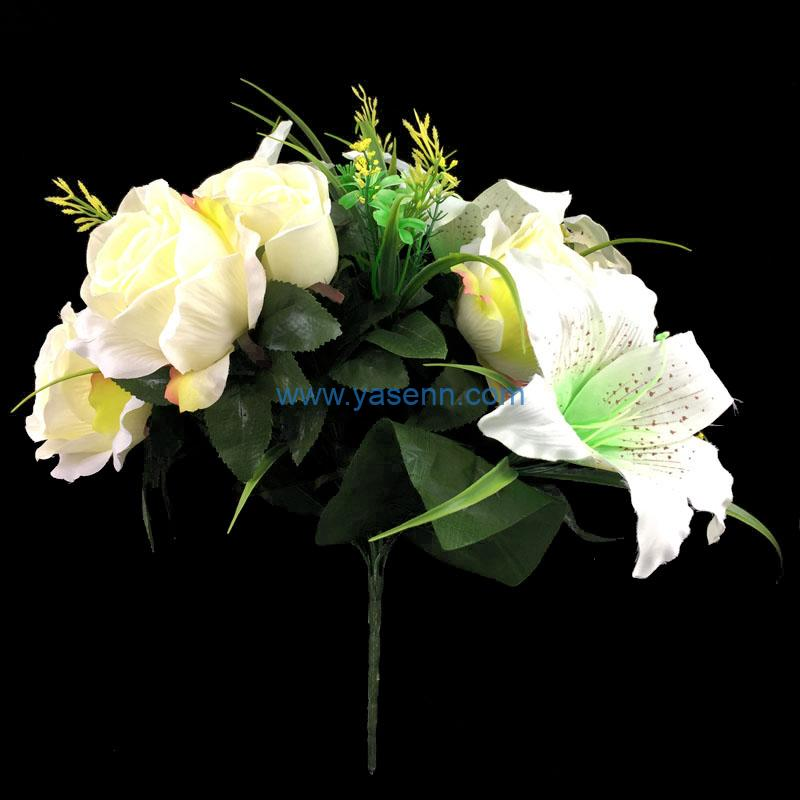 Artificial Flowers 12 Branches Lily Rose Bushes