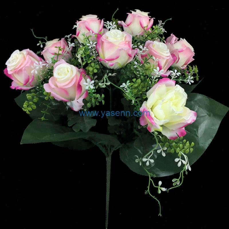 Artificial Flower 12 Branches Rose Faux Flower Bridal Bouquet for Wedding Decor DIY Home Party