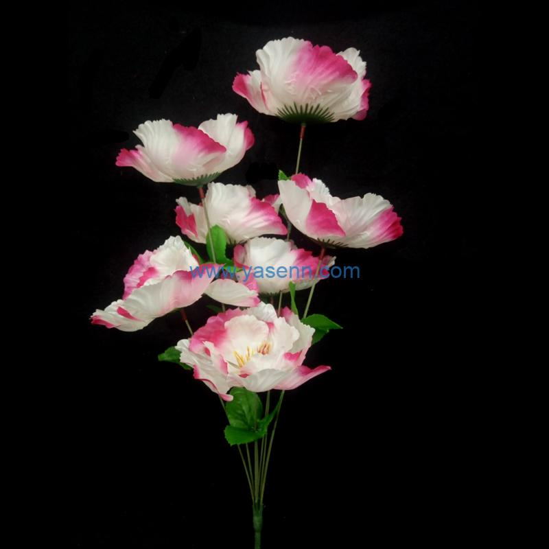 Artificial Flower 7 Branches Poppy Flower Bridal Bouquet for Wedding Decor DIY Home Party