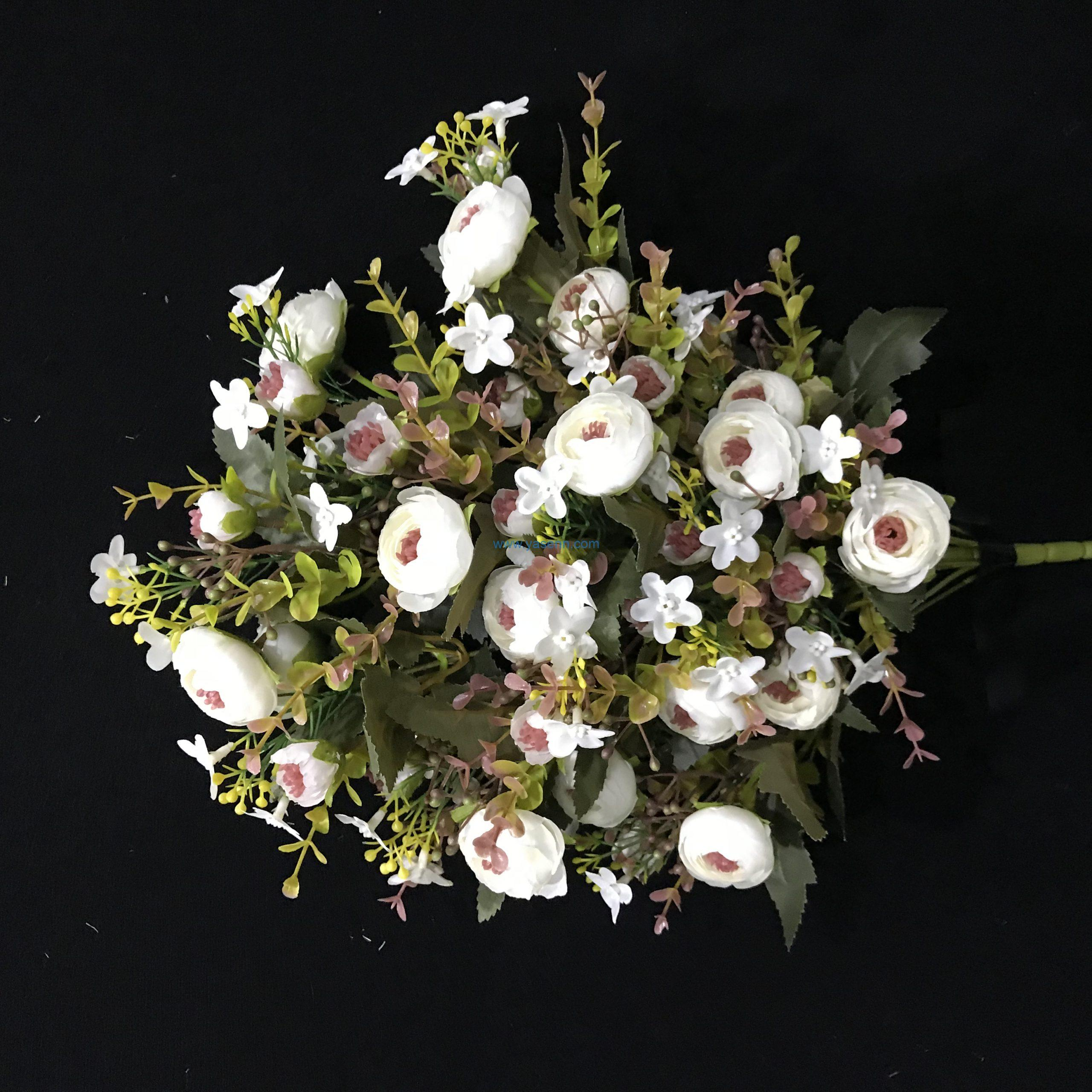 18 Branches Sector Tea Rose bushes Artificial flowers