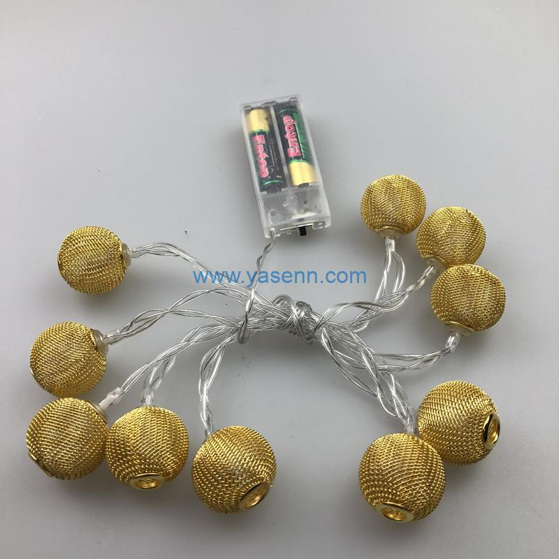 Decorative Light YSLB013 10L LED Battery Light With Metal Ball Decoration