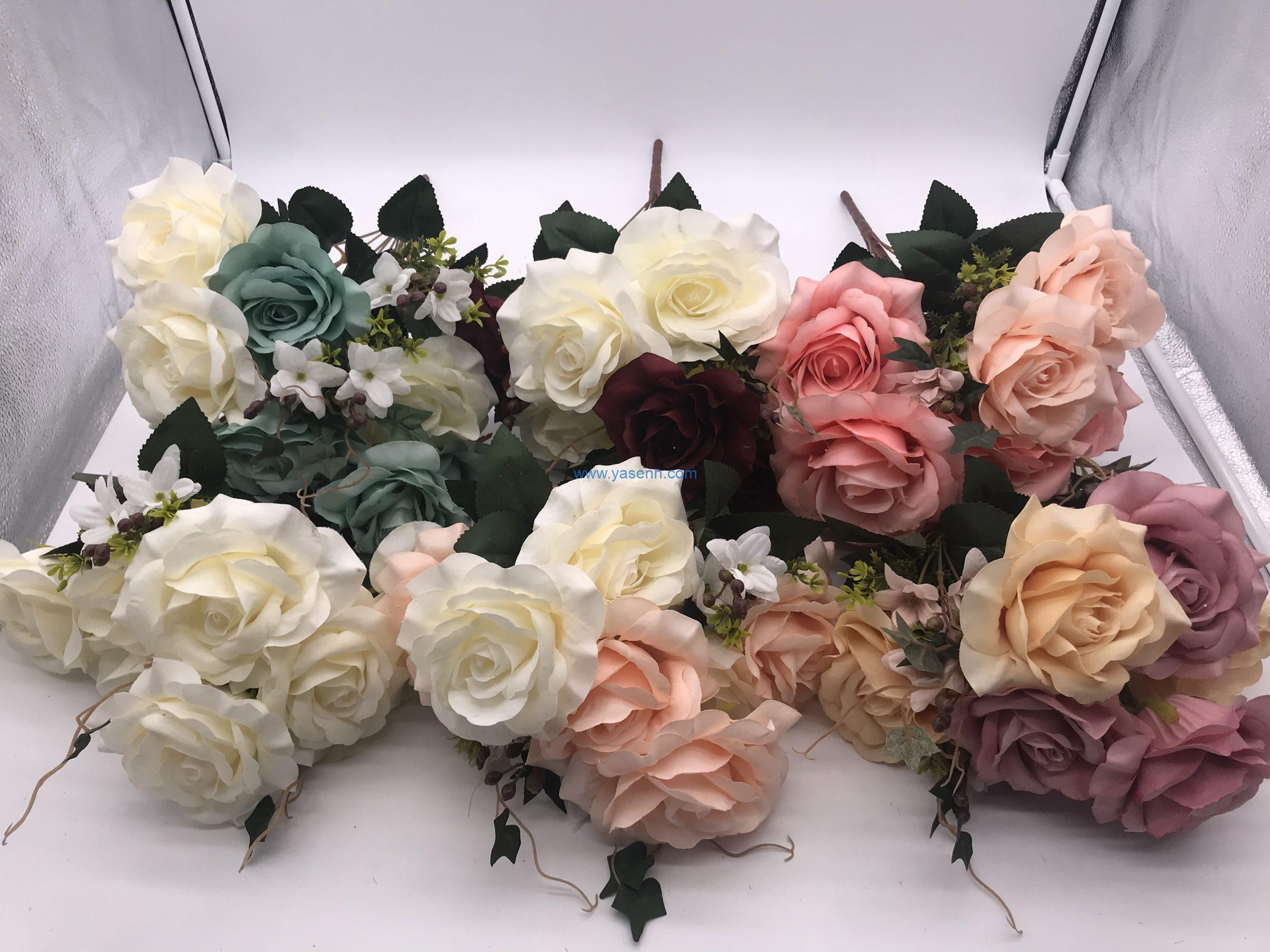 Artificial Flowers 11 Branches Rose Present for Important People Glorious Moral Office Coffee and Wedding