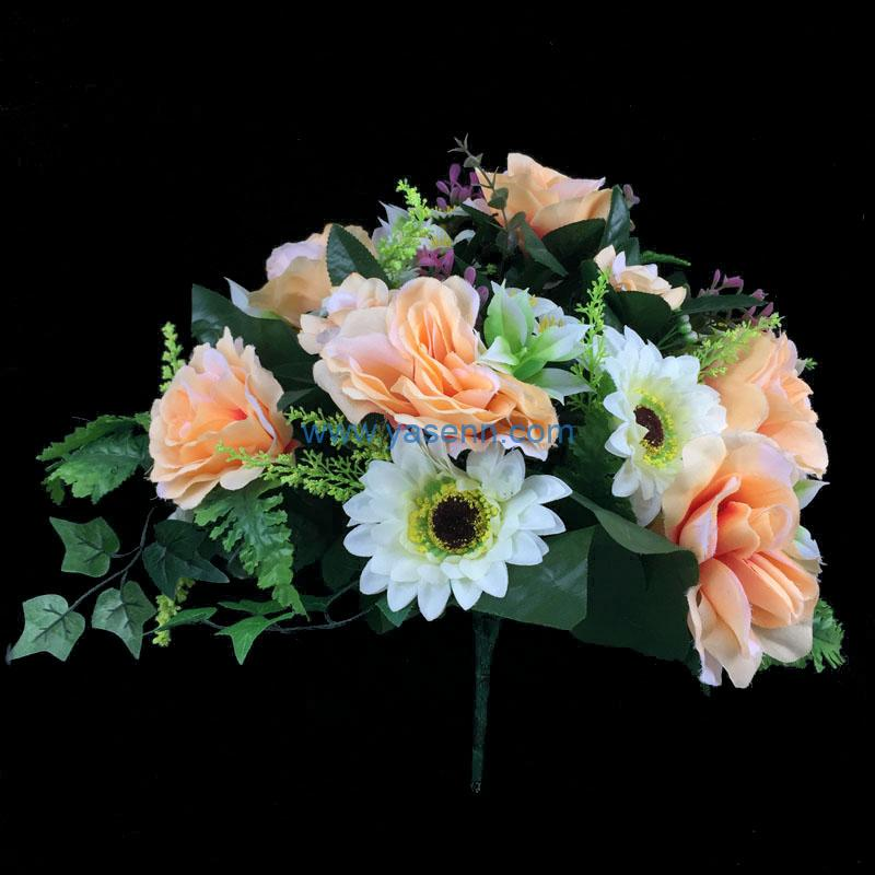 Artificial Flower 18 Branches Rose Gerbera Bushes Lifelike Flowers for Garden DIY Stage Party Home Wedding Craft Decor