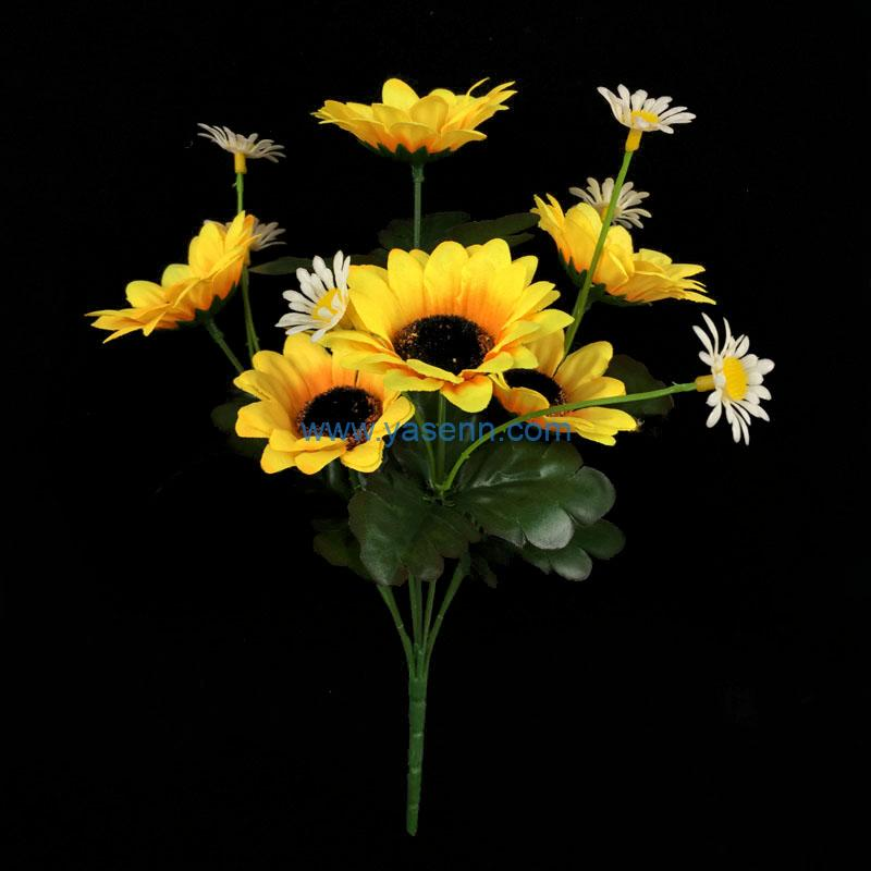 Silk Flowers 7 Branches Sun Flowers in Bulk Wholesale Artificial Flowers for Home Wedding Decoration DIY Craft