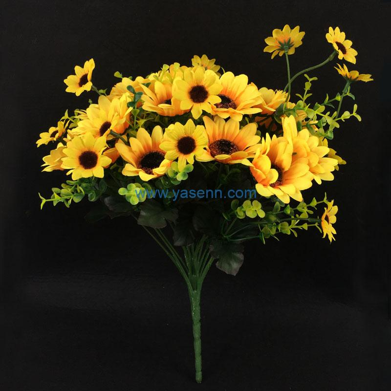 Silk Flowers 24 Branches Sun Flowers in Bulk Wholesale Artificial Flowers for Home Wedding Decoration DIY Craft
