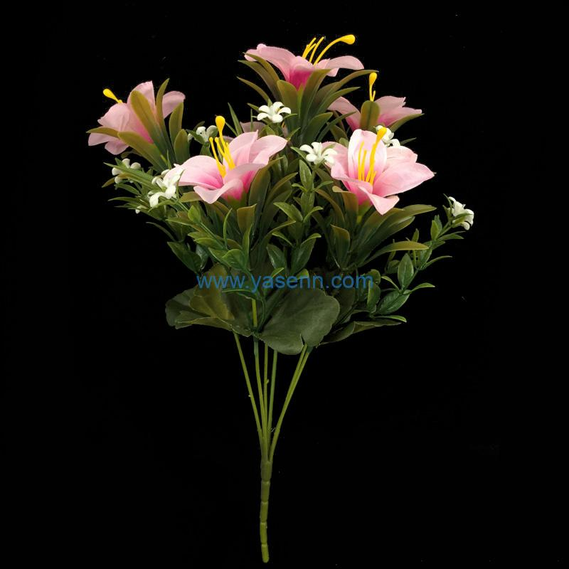 Artificial Bouquets 6 Branches Mini Lily Fake Silk Flowers Decoration for Table Home Office Wedding Parties Bridal