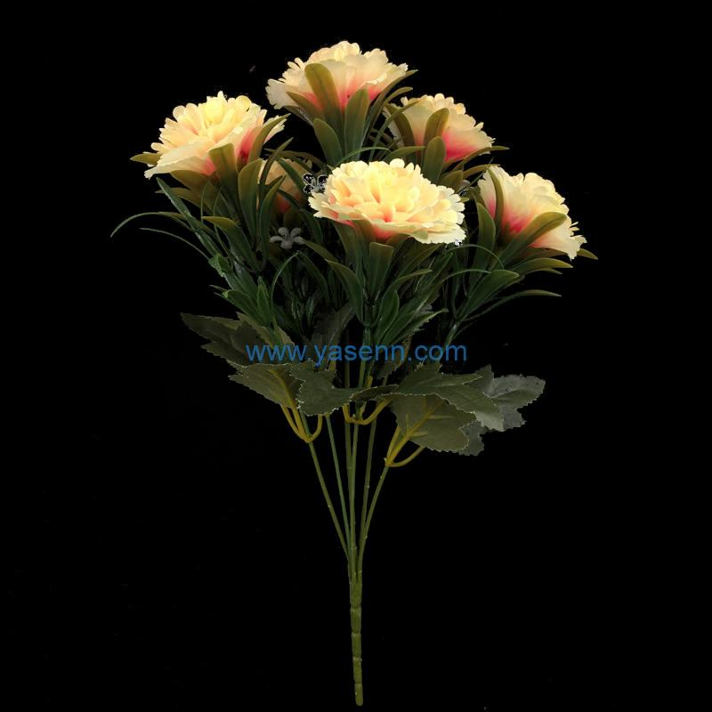 Artificial Bouquets 6 Branches Carnation Fake Silk Flowers Decoration for Table Home Office Wedding Parties Bridal