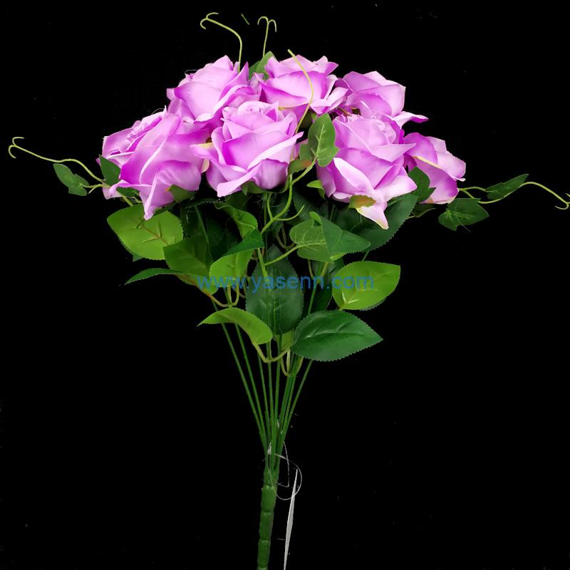 Artificial Bouquets 10 Branches Rose Fake Silk Flowers Decoration for Table Home Office Wedding Parties Bridal