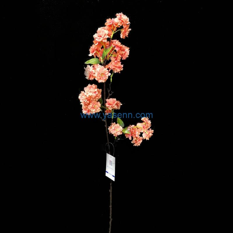 Single Stem Single Cherry Blossoms Artificial Flower Silk Flower with Leaf for Wedding Bridal Party Home Garden Decoration