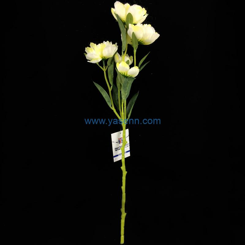 Single Stem 5 Branches Little Peony Artificial Flower Silk Flower with Leaf for Wedding Bridal Party Home Garden Decoration