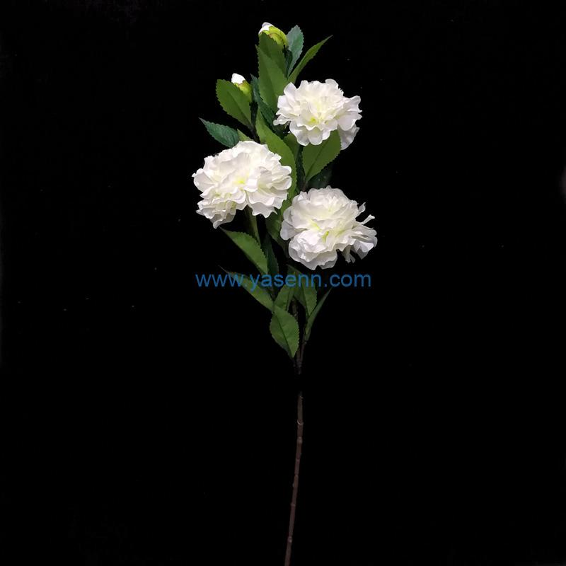 Single Stem 5 Branches Camellia Artificial Flower Silk Flower with Leaf for Wedding Bridal Party Home Garden Decoration