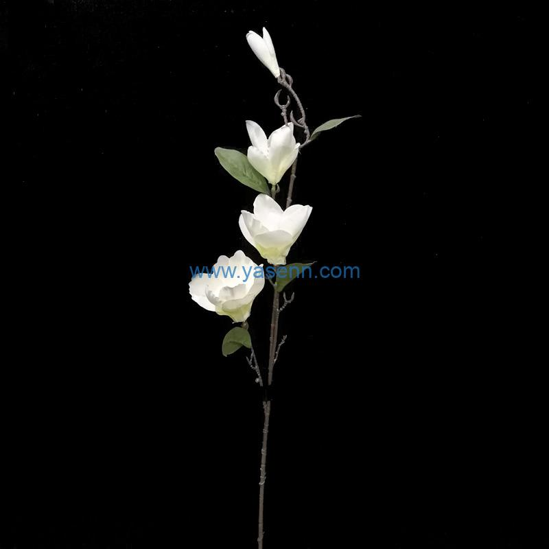Artificial Flowers 4 Branches Magnolia Faux Stems for Wedding Home Garden Decor Store Opening Hotel Table Decoration