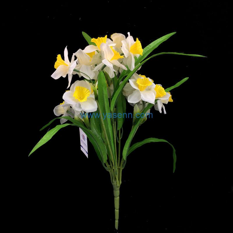 9 Branches Daffodil Artificial Silk Flowers Bouquet Faux Foral for Home Office Decoration and Weddings