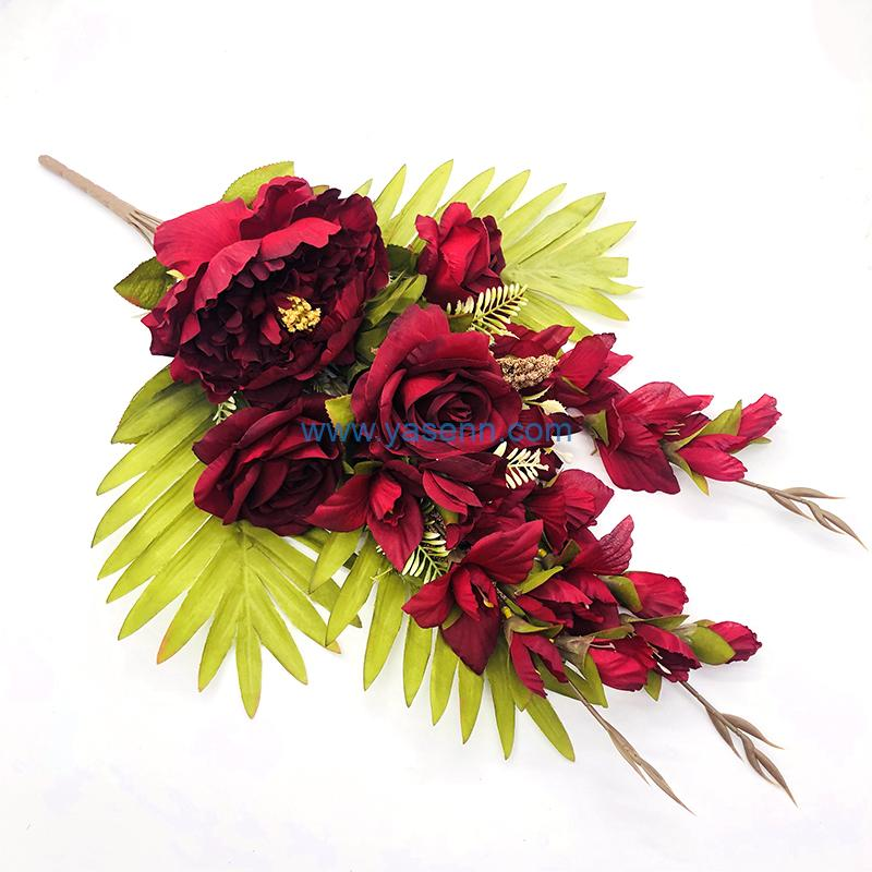 Mixed Flower YSZ20152 13 Branches Peony Rose in dark red color